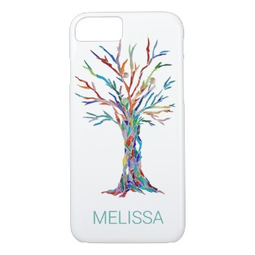 Modern Trendy Name Colorful Tree iPhone 8/7 Case