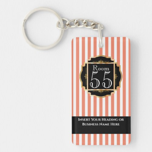 Modern trendy orange white gold stripes DIY Keychain
