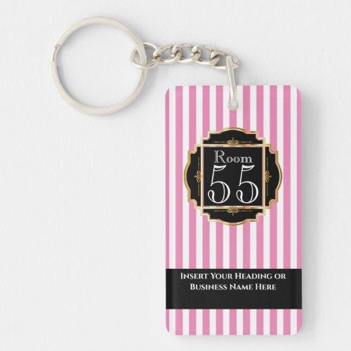 Modern trendy pink white gold stripes chic DIY Keychain