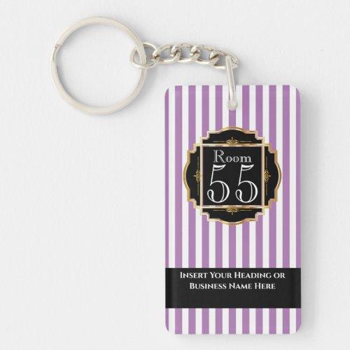 Modern trendy purple white gold stripes chic DIY Keychain
