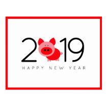 Modern Trendy Red Chinese New Year of the Pig 2019 Postcard