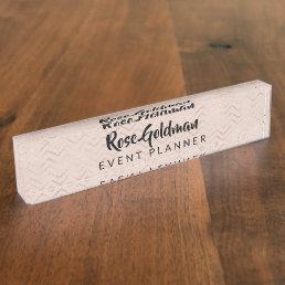 Modern Trendy Rose Gold Chevrons Luxury Nameplate