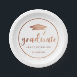 "Modern &amp; Trendy Rose Gold Personalized Graduation Paper Plate<br><div class=""desc"">Modern and trendy rose gold personalized graduation paper plate. For more advanced customization of this design,  Please click the &quot;Customize"" button above! Matching items are also available.</div>"