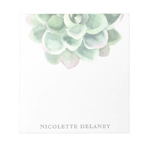 Modern Trendy Sage Green Watercolor Succulent Notepad