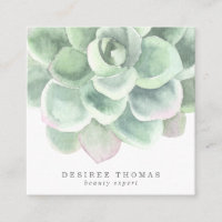 Modern Trendy Sage Green Watercolor Succulent Square Business Card