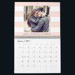 """Modern Trendy Stripes with Your Photos Calendar<br><div class=""""desc"""">This stylish calendar features either pink and white or black and white stripes on alternate months, with your choice of photo and personalized caption on each page. A faux gold frame overlay sits on each photo to add a bit of glam. You can also add a cover photo and your...</div>"""