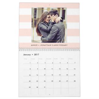 Modern Trendy Stripes with Your Photos Calendar