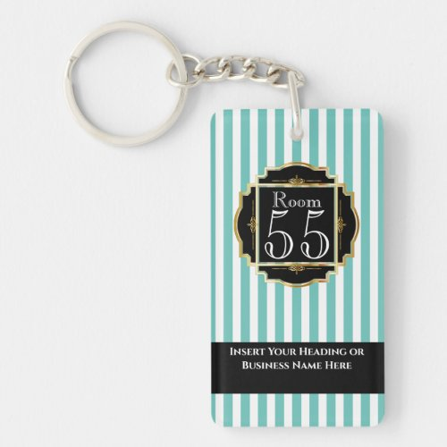Modern trendy teal white gold stripes chic DIY Keychain