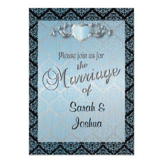 Modern Trendy Wedding in a Aqua Blue Damask 5x7 Paper Invitation Card