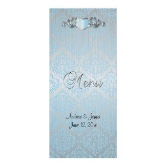 Modern Trendy Wedding in a Aqua Blue Damask Rack Card