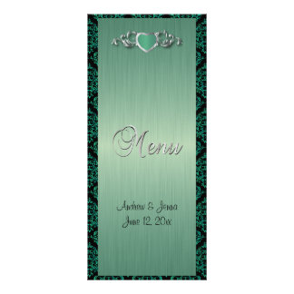 Modern Trendy Wedding in a Green Brush Damask Rack Card