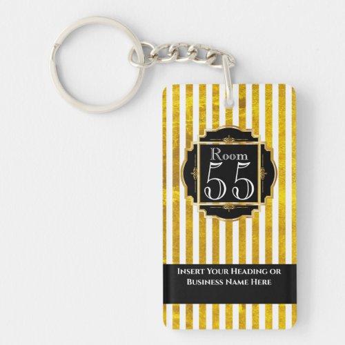 Modern trendy white gold stripes black chic DIY Keychain