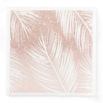 Modern trendy white palm tree leaf pattern on rose paper dinner napkin