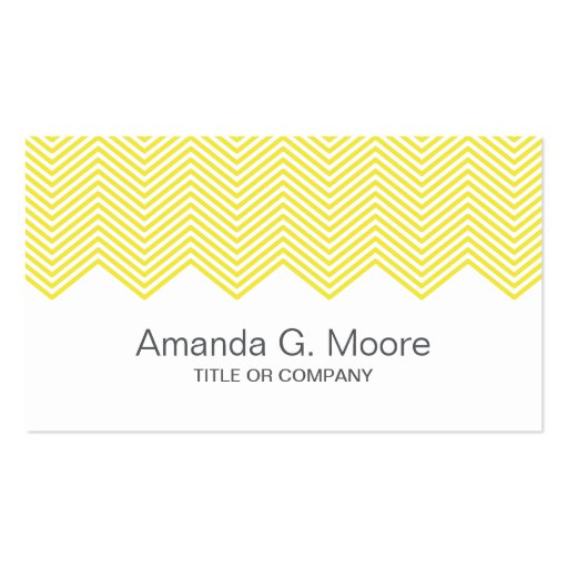 Modern trendy yellow chevron zigzag pattern Double-Sided standard business cards (Pack of 100)