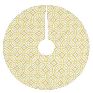 Modern Trendy Yellow Circle Geometric Pattern Brushed Polyester Tree Skirt
