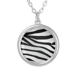 Modern Trendy Zebra Stripes Pattern Silver Plated Necklace