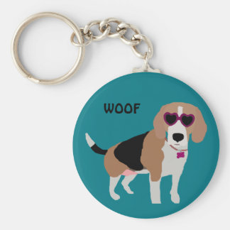 Modern tri-color beagle dog keychain