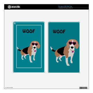 Modern tri-color beagle dog kindle fire decal