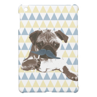 Modern Tri-Pattern Mustache Pug iPad Mini Case