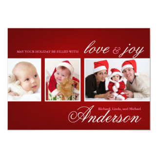 Modern Tri-Photo Holiday Collage Card