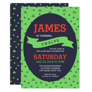 Modern Triangle Green and Blue Birthday Card