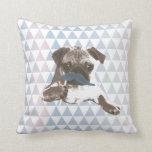 Modern Triangle Pattern Blue Mustache Pug Throw Pillow