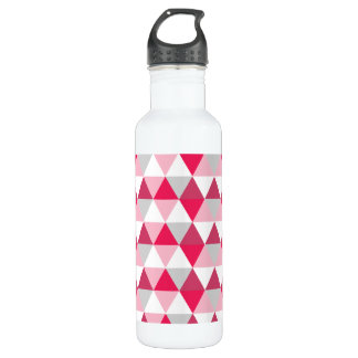 Modern Triangle Pattern in Shades of Pink 24oz Water Bottle