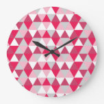 Modern Triangle Pattern in Shades of Pink Wallclock