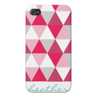 Modern Triangle Pattern in Shades of Pink Covers For iPhone 4