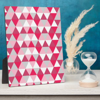 Modern Triangle Pattern in Shades of Pink Photo Plaque
