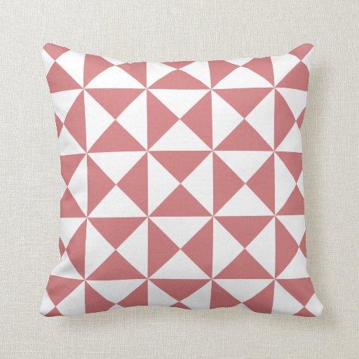Modern Triangle Pattern Pillow in Strawberry Ice Zazzle