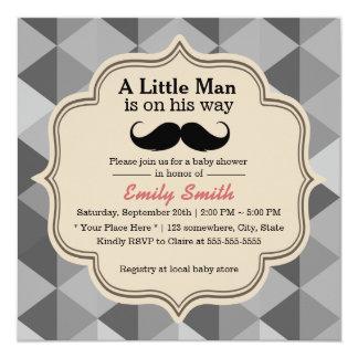 Modern Triangle Quilts Mustache Boy Baby Shower Card