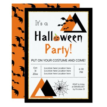 Halloween Themed Modern triangles bats and spider web Halloween Card
