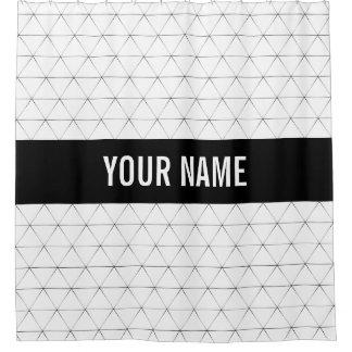 Modern Triangles Black Striped Custom Name Shower Curtain