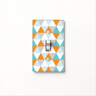 Modern Triangles in Teal and Orange Light Switch Light Switch Plate