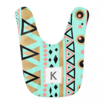 modern tribal aztec faux gold geometric pattern baby bib