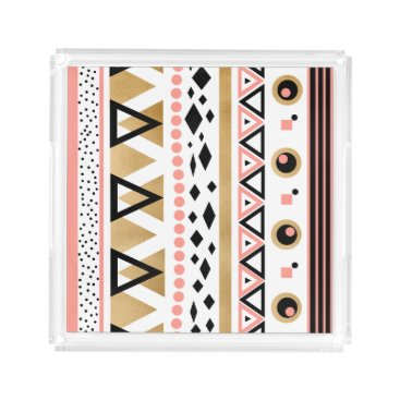 Aztec Themed modern tribal aztec gold foil geometric pattern acrylic tray