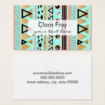 Aztec Themed modern tribal aztec gold foil geometric pattern business card