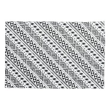 Aztec Themed Modern Tribal Black and White Geometric Pillow Case