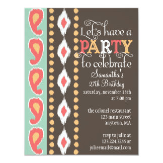 "Modern Tribal Colorful Birthday Party 4.25"" X 5.5"" Invitation Card"