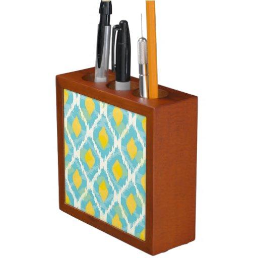 Modern tribal ikat blue yellow fashion desk organizer zazzle - Modern desk organizers ...