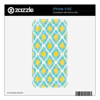 Modern tribal ikat blue yellow fashion skin for the iPhone 4S