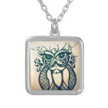 Modern Tribal Owl Silver Plated Necklace