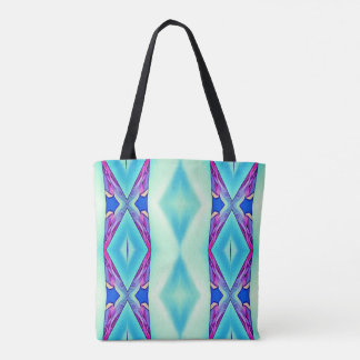 Modern Tribal Pastel Teal Purple Blue Pattern Tote Bag
