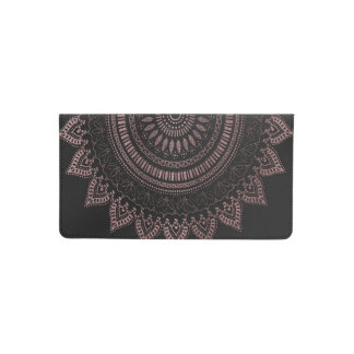 Modern tribal rose gold mandala design checkbook cover