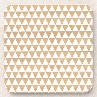Modern tribal wood geometric chic andes pattern beverage coaster