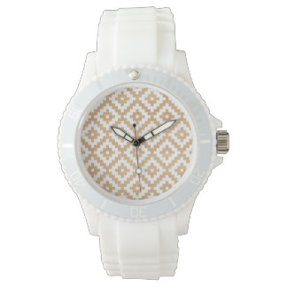 Modern tribal wood geometric chic andes pattern watches