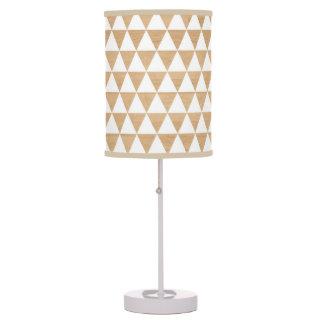 Modern tribal wood geometric triangle pattern table lamp