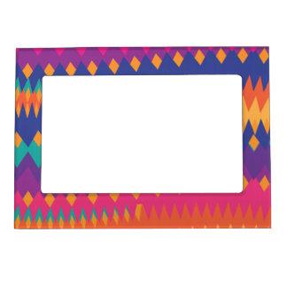 Modern Tribal ZigZag Vibrant Colors Magnetic Photo Frame