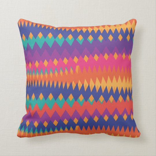 Modern Tribal ZigZag Vibrant Colors Throw Pillow